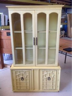 Vintage regency china cabinet, faux bamboo $100
