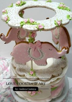 Cookie Cake Carousel Mother's Day Cookies, Fancy Cookies, Iced Cookies, Cupcakes, Cupcake Cookies, Bolacha Cookies, Carousel Cake, Elephant Cookies, Sugar Cookie Royal Icing