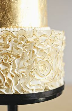 Black, Gold and White Ruffled Wedding Cake ⋆ Wedding Ideas By Color