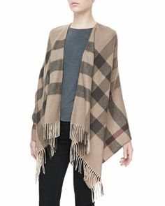 D0LGH Burberry Smoked Trench Check Merino Cape
