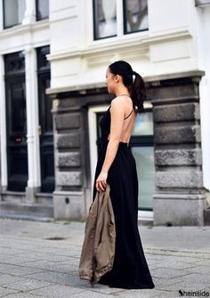 Black V-neck Spaghetti Straps Backless Maxi Dress -SheIn(Sheinside)