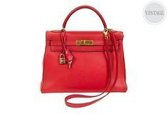 Stunning!!! One Kings Lane - Vintage Designer Jewelry & Accessories - Hermès Rouge Kelly Retourne 32cm