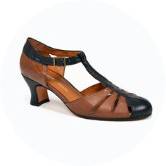 ReMix Vintage Shoes 1920s style with fluted heel.  Balboa Shoes Two tone Brown