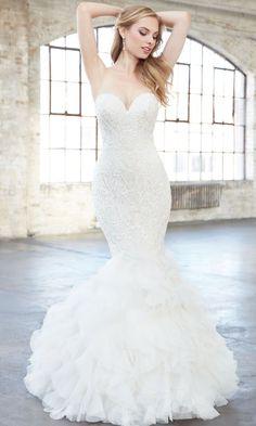 Featured Dress: Madison James; Strapless V-neck mermaid wedding dress idea.