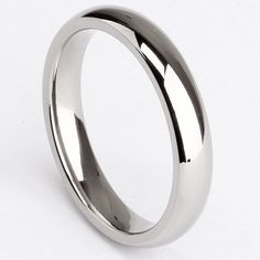 Amazon.com: 4mm Silver Dome Plain Polished Titanium Rings for Men Women Wedding Bands Comfort Fit: Jewelry
