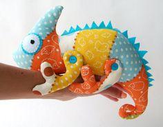 Chameleon soft toy kids Cotton blue stuffed animal woodland creatures