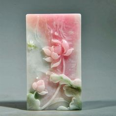 Summer lotus pond. Carved with Dushan jade,very smart designing of colors.