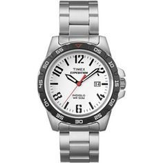Timex Unisex Expedition Rugged Metal Field White Dial Watch, Stainless Steel Bracelet
