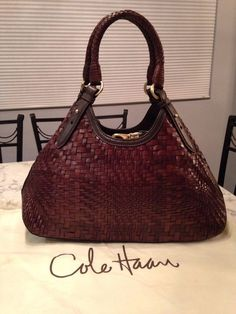 Cole Haan MINT! Genevieve Woven Leather Brown Hobo Tote Shoulder Hand Bag Purse #ColeHaan #TotesShoppers GORGEOUS!!! BEAUTIFUL CHOCOLATE BROWN WOVEN LEATHER BAG!!! SALE!!! WOW!!!