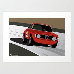Alfa Romeo Junior, Alfa Romeo Gta, Alfa Romeo Giulia Coupe, Bike Illustration, Automotive Art, Canvas Prints, Art Prints, Vintage Cars, Touring