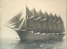 || The Thomas W Lawson, the world's only seven-masted schooner. She was wrecked in 1907 off the Scilly Isles after only 5 years of service as a coal and oil hauler. http://en.wikipedia.org/wiki/Thomas_W._Lawson_(ship)