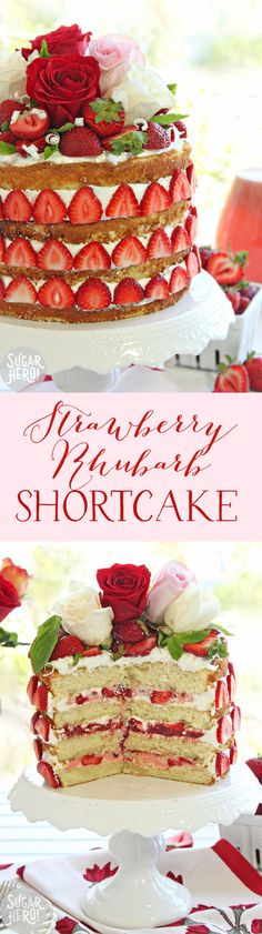 Strawberry Rhubarb Shortcake - a twist on a naked cake, filled with fresh strawberries, rhubarb curd, and whipped cream! | From SugarHero.com