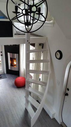 Tiny House Swoon, Tiny House Living, Tiny House Plans, Tiny House On Wheels, Tiny House With Loft, Living Room, Small Living, Tiny House Stairs, Loft Stairs