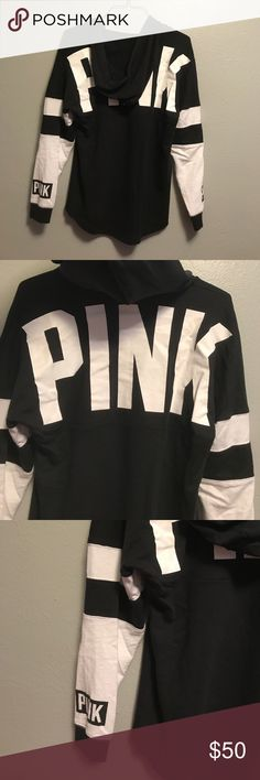 Vs black tunic hoodie Euc, no flaws. PINK Victoria's Secret Sweaters