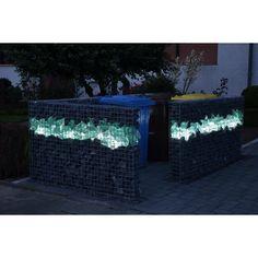 Mülltonnenverkleidung mit LED Beleuchtung für Gabionen. Von die Firma Gabinova GmbH. Compound Wall, Modern Fence, Outdoor Entertaining, Aquarium, Bbq, Lighting, Gardening, Flats, New Homes