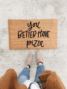 """""""You Better Have Pizza"""" doormat hello welcome mat… Funny doormat for pizza lovers, funny welcome mat Etsy affiliate link Wall E, Cortina Box, Urban Outfitters, Funny Doormats, Welcome Mats, First Home, Home Decor Accessories, Gothic Accessories, Home Furniture"""