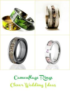 camo wedding rings - see more at www.cleverweddingideas.com