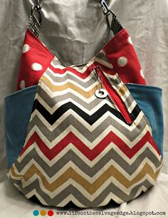241 Tote by Life on the Selvage Edge, via Flickr - love the corduroy pockets, chevron