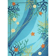 Found it at Wayfair - Underwater Blue Coral and Starfish Indoor/Outdoor Rug