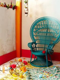Tea wicker chair with colorful rug