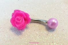 Hot pink rose and pearl ball little bellybutton ring by CuteBellyRingsNBling, $11.75