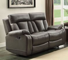 Ackerman Collection Double Reclining Love Seat 8500GRY-2With a design style that is flexible for placement in number of living environments, the Ackerman will be a welcome addition to your home. Dual reclining ends are featured on the sofa and love seat for maximum comfort. That comfort extends to the matching reclining chair. The bonded leather match collection is offered in either grey or black.Features:Ackerman CollectionContemporary StyleGrey ColorBonded Leather Match CoverDimensions…