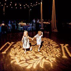 Monogram projected onto the dance floor! LOVE IT!