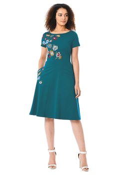 I <3 this Floral embellished cotton knit dress from eShakti