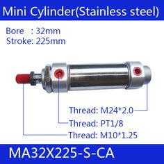MA32X225-S-CA, Free shipping Pneumatic Stainless Air Cylinder 32MM Bore 225MM Stroke , 32*225 Double Action Mini Round Cylinders