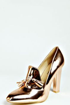 """Louisa"" Metallic Heeled Loafers via @boohoo. Love! #shoes #fashion"
