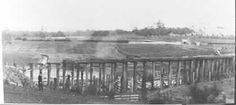 MP 765. A photo taken during construction of the Black Bridge over Gardiners Creek for the Outer Circle Railway Line. The view appears to be looking north, showing (possibly) the Ashburton forest in the background. 1889