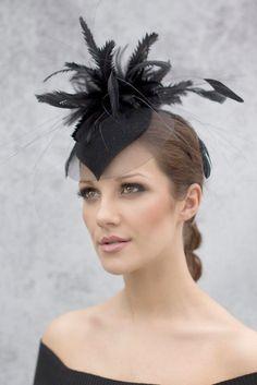 Black Hatinator, Statement Fascinator, Special Occasion Feather Hat - Farrah