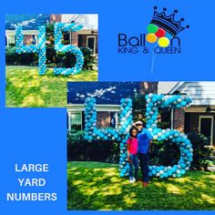 Great yard display standing over 8 feet tall. Balloon Bouquet Delivery, Balloon Delivery, Bubble Balloons, Large Balloons, Event Themes, Party Themes, Balloon Decorations, Balloon Ideas, Creativity And Innovation