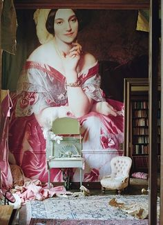 England's Glemham Hall features and century art pieces enlarged to cover the walls - This room features Portrait of Baroness James de Rothschild by Jean-Auguste-Dominique Ingres. Photographed by Tim Walker for W Magazine, April 2011 Home Interior, Interior And Exterior, Interior Designing, Tim Walker Photography, Glamour Photography, Lifestyle Photography, Editorial Photography, Fashion Photography, Wall Murals