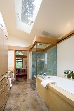 Give the narrow, modern bathroom an airy appeal with the skylight [Design: Balance Associates Architects]
