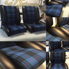 And some Sport S seats in leatherette w blue tartan coming to a Porsche 911 in the MidWest #ClassicCarSeats #classicPorsches #handmade #headrest #plaid #Tartans #SportS #GtsClassics #customseats #comfort #porsche911 by gtsclassics