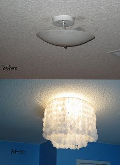 DIY wax paper chandelier, can do it on any type of fanless light fixture