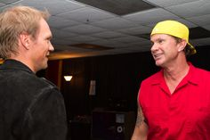 Nick Lidstrom with Chad Smith of the Red Hot Chili Peppers.
