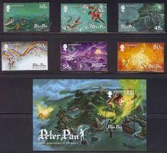 peter pan postage stamps | Alderney Peter Pan 150th Ann JM Barrie Postage Stamps