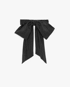 Classic Saint Laurent Lavaliere in Micro Polka Dot Black and Ivory Silk