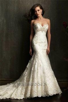 Trumpet/Mermaid Strapless , Sweetheart Tulle Wedding Dress - IZIDRESSES.com