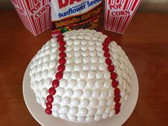 Baseball cake with Valentine's Day m&m's