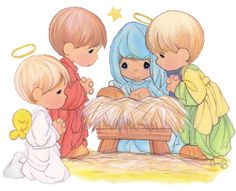 Nativity illustration from the Precious Moments Bible Christmas Story Books, Christmas Nativity, Christmas Clipart, Christmas Pictures, Christmas Art, Xmas, Christmas Poems, Halloween Clipart, Precious Moments Coloring Pages
