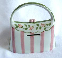 Ceramic Purse or Handbag Bank – Pink Stripes « Holiday Adds
