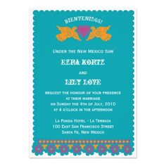 Love Birds Wedding Invitation - Aqua