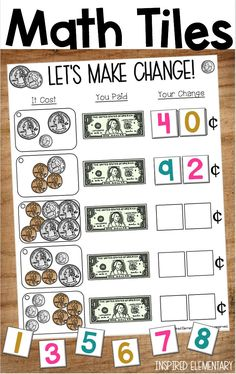 Math Tiles - Counting money and making change from one dollar is fun with this math center. This hands-on math activity engages elementary students in money math problems. Students use number tiles and logic skills to work through each tile card. Money Activities, Math Resources, Learning Money, Fun Math, Math Games, Maths, Just In Case, Just For You, Math Groups