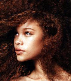 Love the freckles and hair. gorgeous red tresses @ biracial  mixed hair