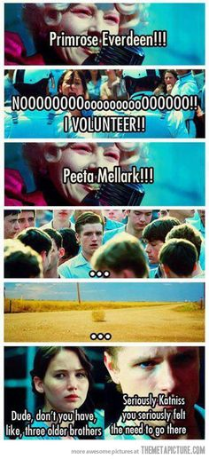 I always thought about that when I read the book and saw the movie...when prim is called katniss immediately volunteered and everyone felt sorry for her but when peeta was called...nada...