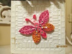 Quilled Butterfly on Metal Basket