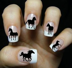 38 DECALS Black HORSE SILHOUETTES - Nail Wraps Nail Art Water Slide Transfers Nail Stickers